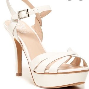 Vince Camuto white strap heels
